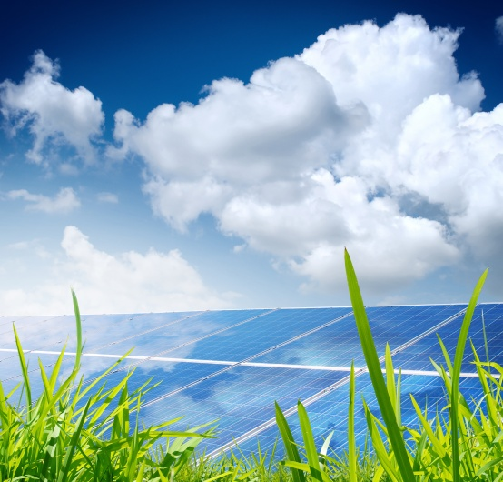 solar pannels under bright sun light